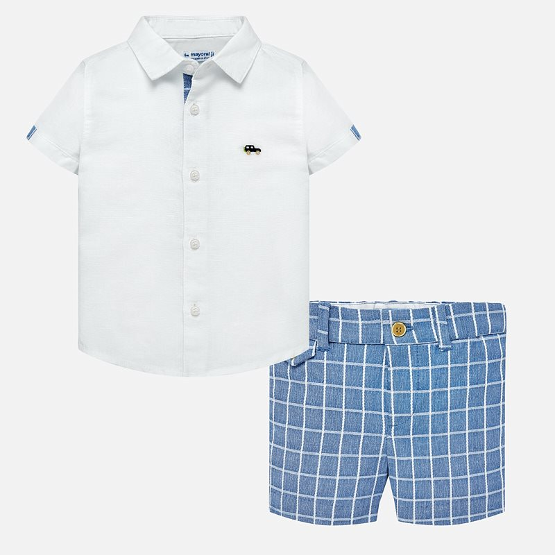 cb1ccd468c23 Linen shirt and bermuda shorts set for baby boy Lavender - Mayoral
