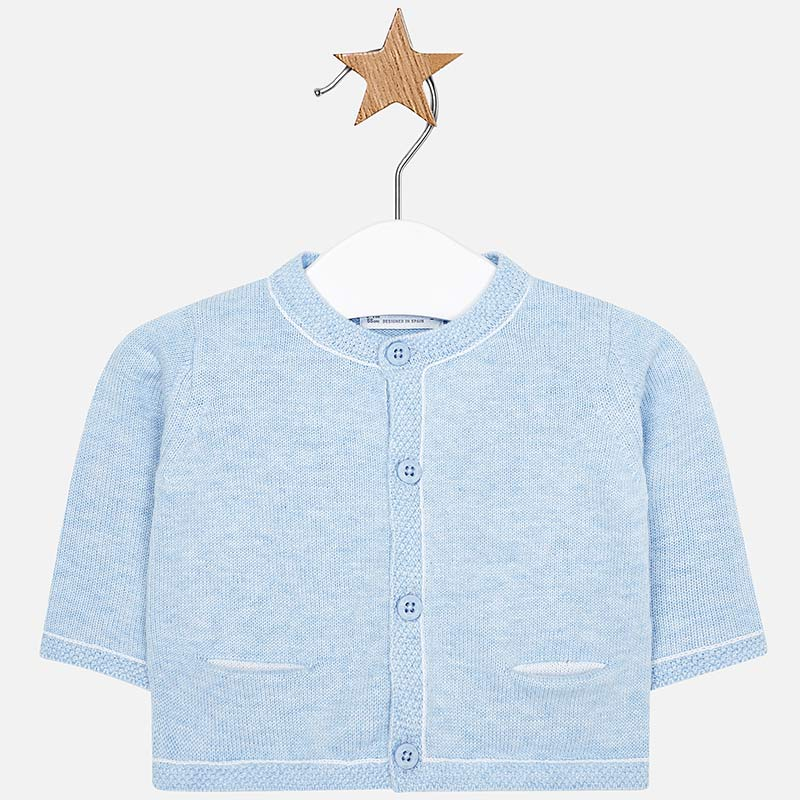 712c9b31c Knitted cardigan with pockets for newborn boy Sky blue - Mayoral