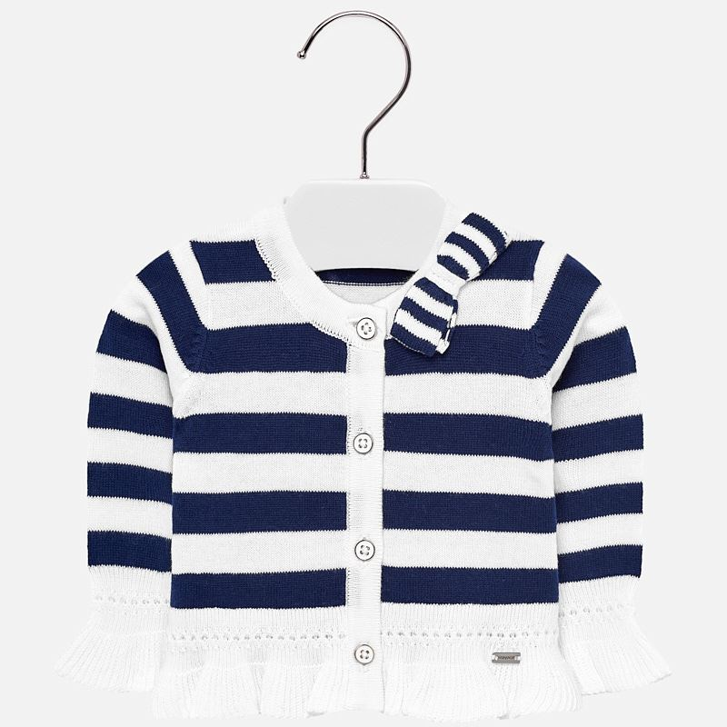 21c8e3d9d Ruffled cardigan for baby girl Navy-White - Mayoral