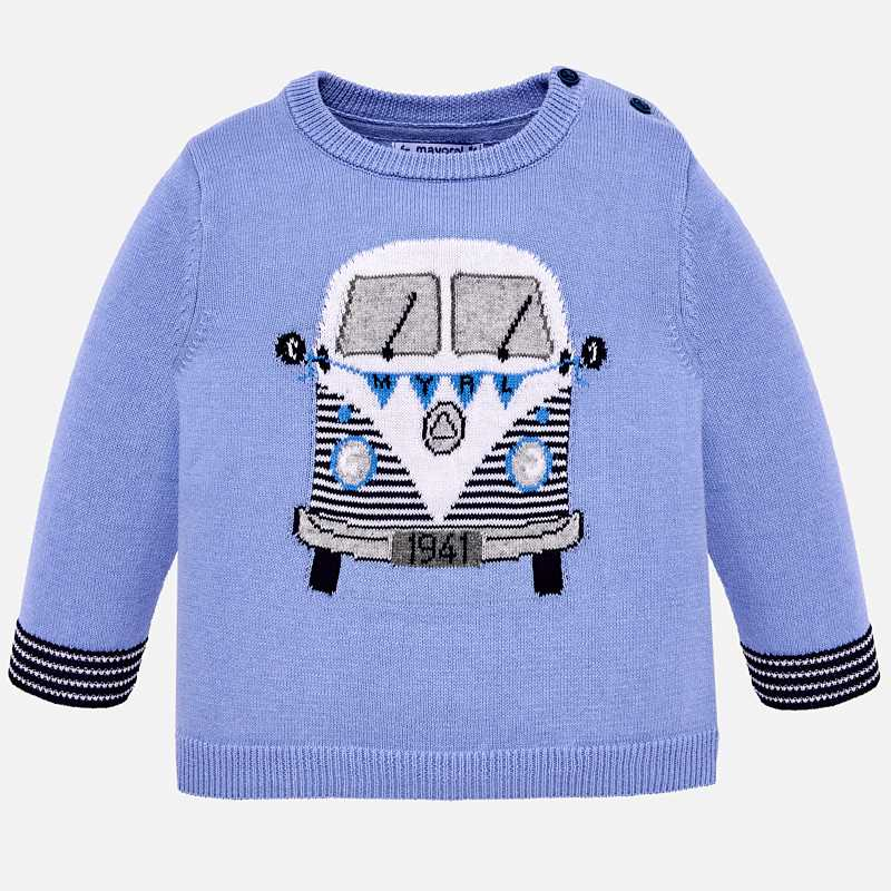 Maglioncino furgone bambino Celeste