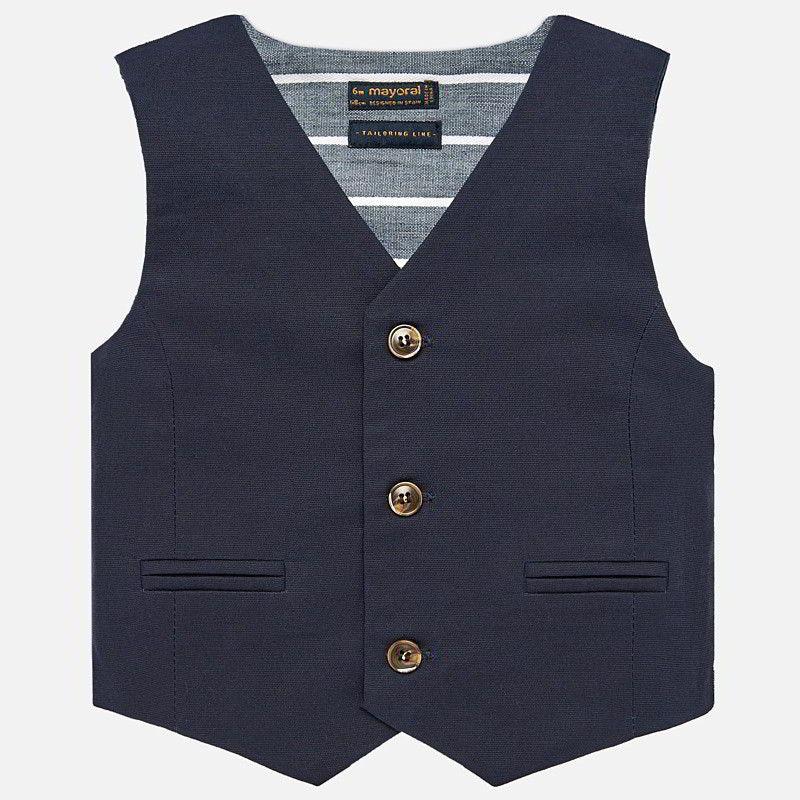 Gilet elegante lino bambino Blu Navy