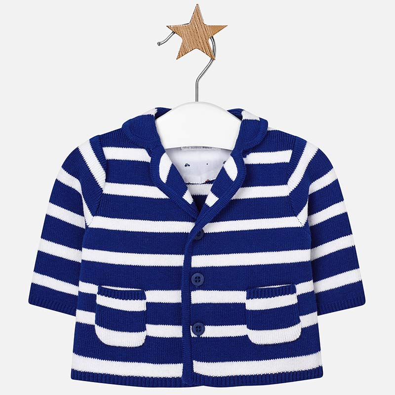 01071117c Knitted jacket with lapel collar for newborn boy Royal - Mayoral