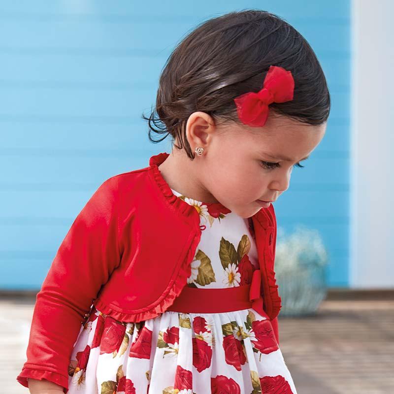 07479b78a479 Ruffled cardigan for baby girl Rojo - Mayoral