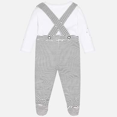 1 2 3 4. Conjunto calças com suspensórios bebé recém nascido Nero.