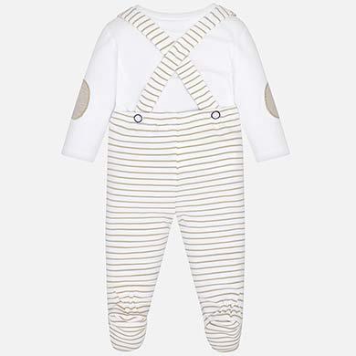 1 2 3 4. Conjunto calças com suspensórios bebé recém nascido Macadamia.