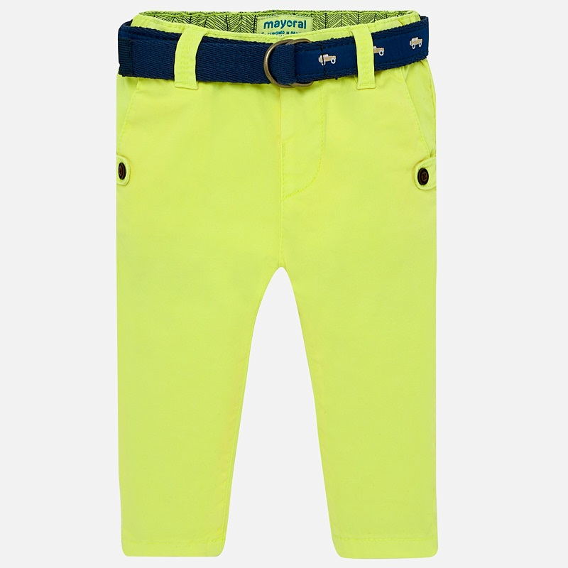 39c8487589de Slim fit trousers with contrast belt for baby boy Neon pineapple - Mayoral
