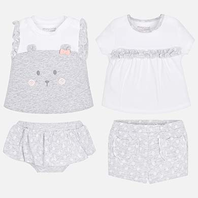 fe33dcd4b196 Combinable t-shirts and shorts set for newborn girl Navy - Mayoral