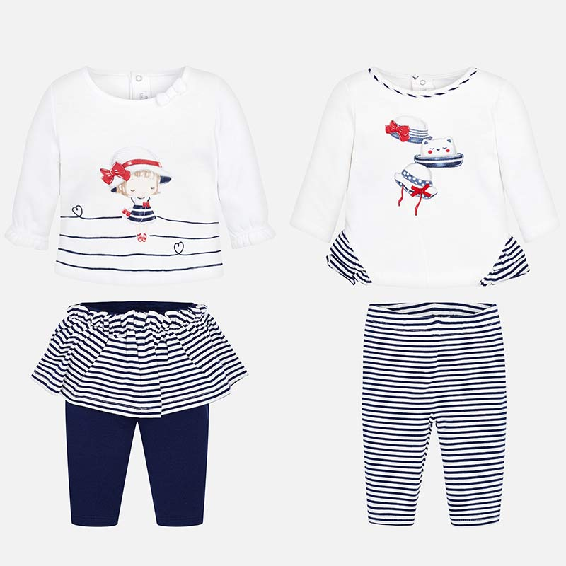 ef5df55230de3 Combinable t-shirts and trousers set for newborn girl Navy - Mayoral