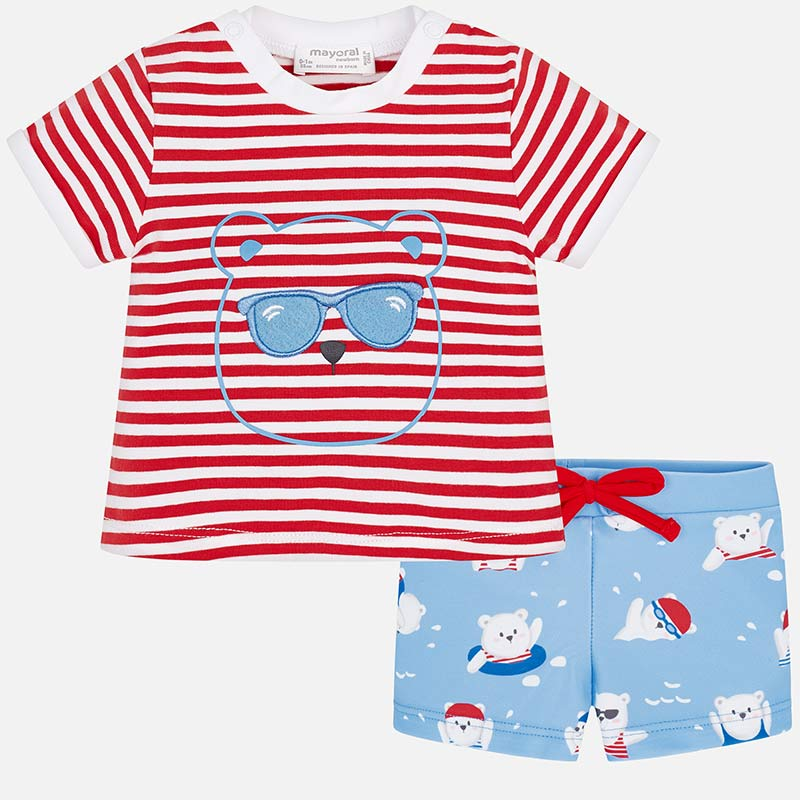 fea512e80d5ed Conjunto camiseta y bañador corto bebé recién nacido Red pop - Mayoral
