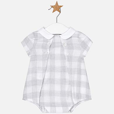 38980186e Checked linen babygrow for newborn boy Silver - Mayoral