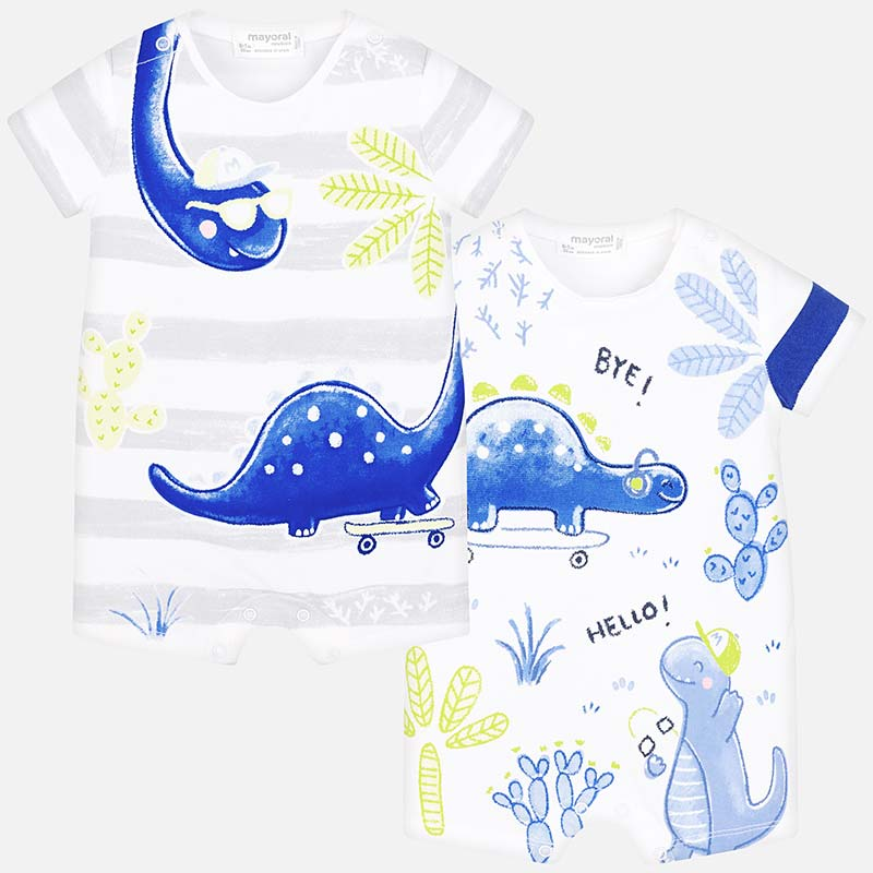 bd61bba88 Short dinosaur onesie set for newborn boy Pearl - Mayoral