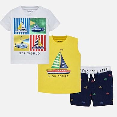 31c6f9804 Conjunto camisetas y shorts barcos bebé niño