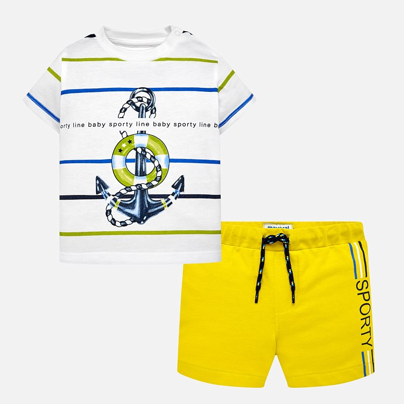 ce23f8937 Anchor print bermuda shorts and t-shirt set for baby boy Lemon - Mayoral