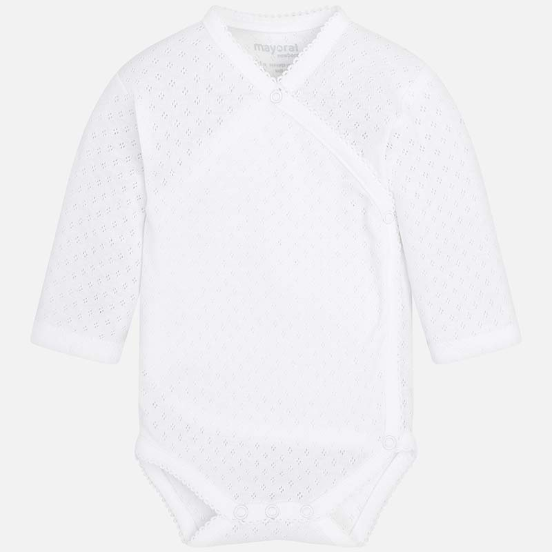 f5f14e65f Long sleeved basic bodysuit for newborn boy White - Mayoral