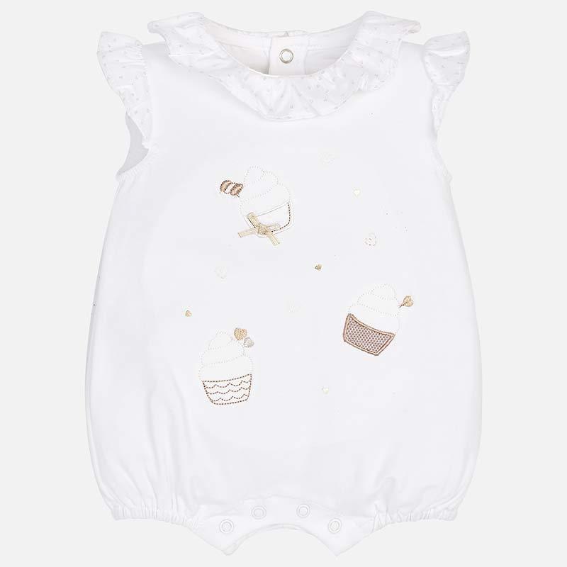 11132313c184c Pyjama court col volant bébé nouveau-né Blanc - Mayoral