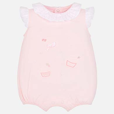 6a85e0a98a67 Short pyjamas with ruffled collar for newborn girl Baby Pink - Mayoral
