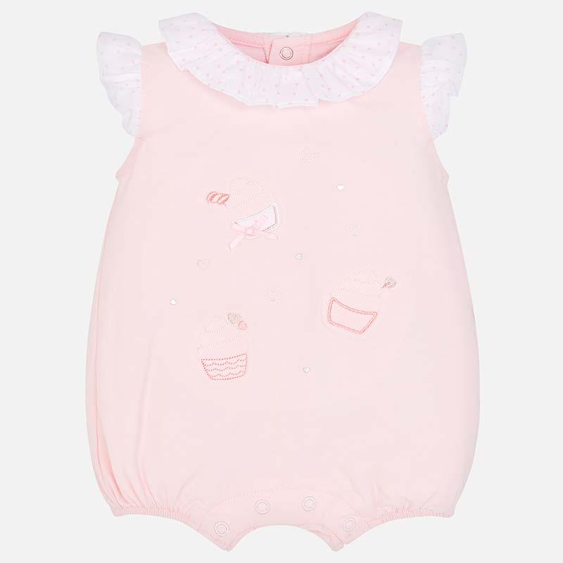 e497726a6c090 Pyjama court col volant bébé nouveau-né Rose Baby - Mayoral