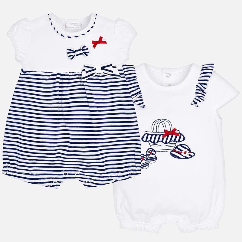 7db7745071336 Set pyjama courts rayures bébé fille nouveau-né Navy - Mayoral