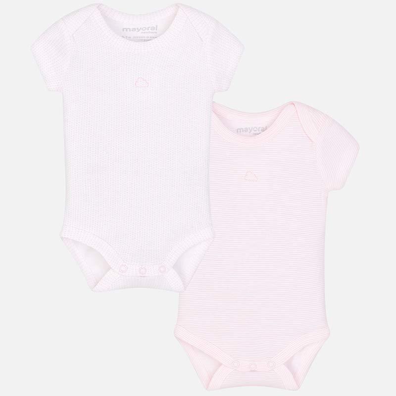 3900e3294 Short sleeved basic onesie for newborn baby Baby Pink - Mayoral