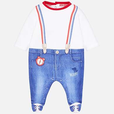 0e7377ee6e4 Pijama largo jeans bebé recién nacido