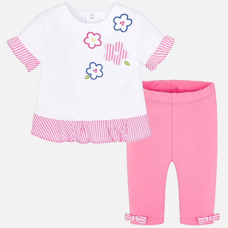 d3f3a4f8799e6 Leggings and ruffles t-shirt set for newborn girl Bubblegum - Mayoral