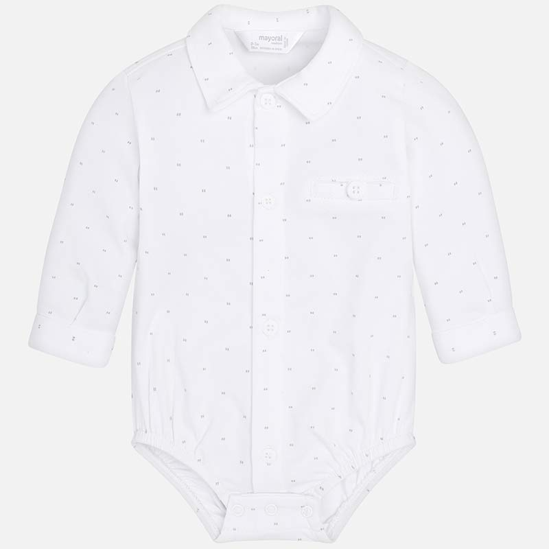 c3c08af07 Long sleeved baby bodysuit with shirt collar for newborn boy Silver ...