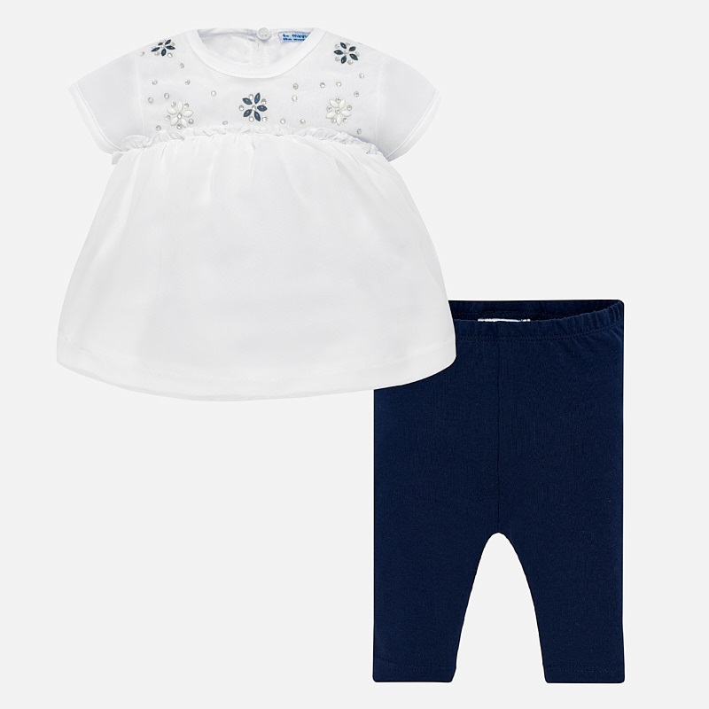 4da7d01f8 Rhinestone blouse and leggings set for baby girl Navy blue - Mayoral