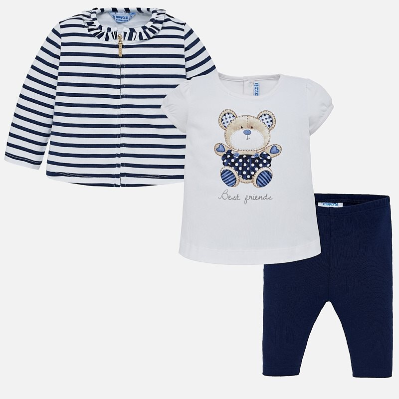 0ae58b8e2 Cardigan and leggings set with bear print for baby girl Navy blue ...