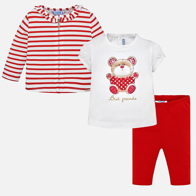f1e73837c399 Cardigan and leggings set with bear print for baby girl Rojo - Mayoral