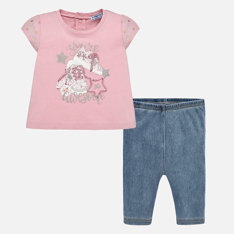 ee4cfbd0ee7d Σετ μπλούζα και κολάν τζιν μωρό κορίτσι Τζιν βασικό - Mayoral