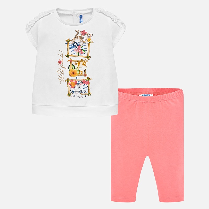 e03ba8ebfbf4 Animal print t-shirt and leggings set for baby girl Geranium - Mayoral