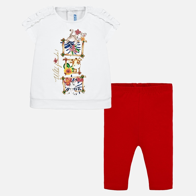 d7a7a8d81 Animal print t-shirt and leggings set for baby girl Rojo - Mayoral