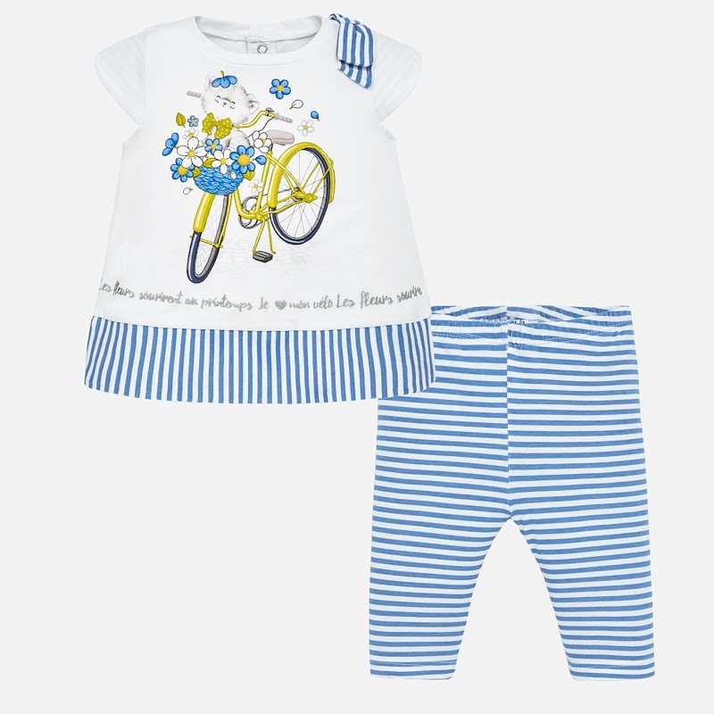 fd2860e898380 Striped t-shirt and leggings set for baby girl Indigo - Mayoral