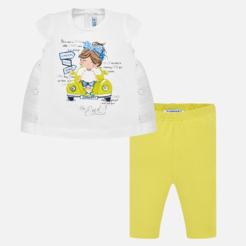 c291263b96b5 Car design blouse and leggings set for baby girl Lemon - Mayoral