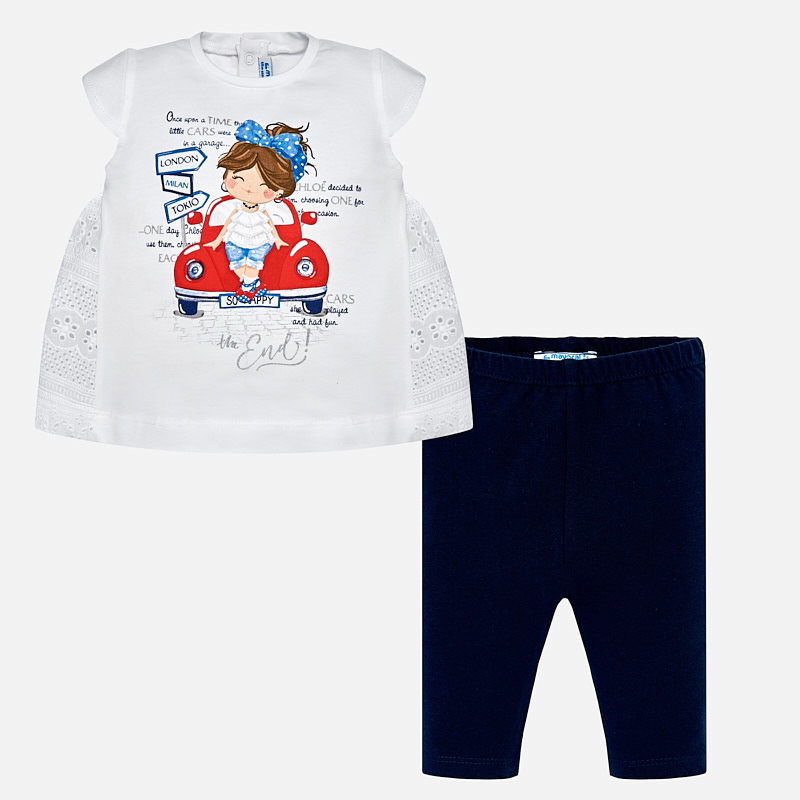 cc3aadac7 Car design blouse and leggings set for baby girl Navy blue - Mayoral