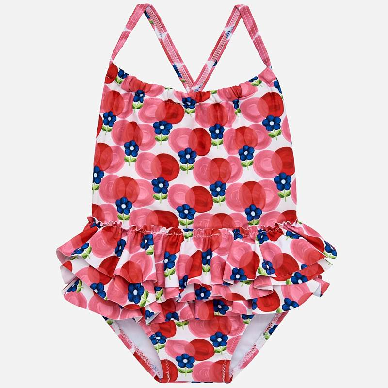 8b7dafe2a1122 Ruffled patterned swimsuit for baby girl Rojo - Mayoral