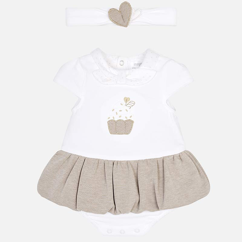 68695ca82 Skirted baby bodysuit with headband for newborn girl Macadamia - Mayoral