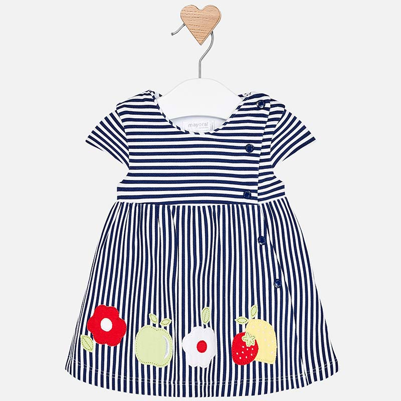 48eb831b7363 Striped dress with appliques for newborn girl Navy - Mayoral