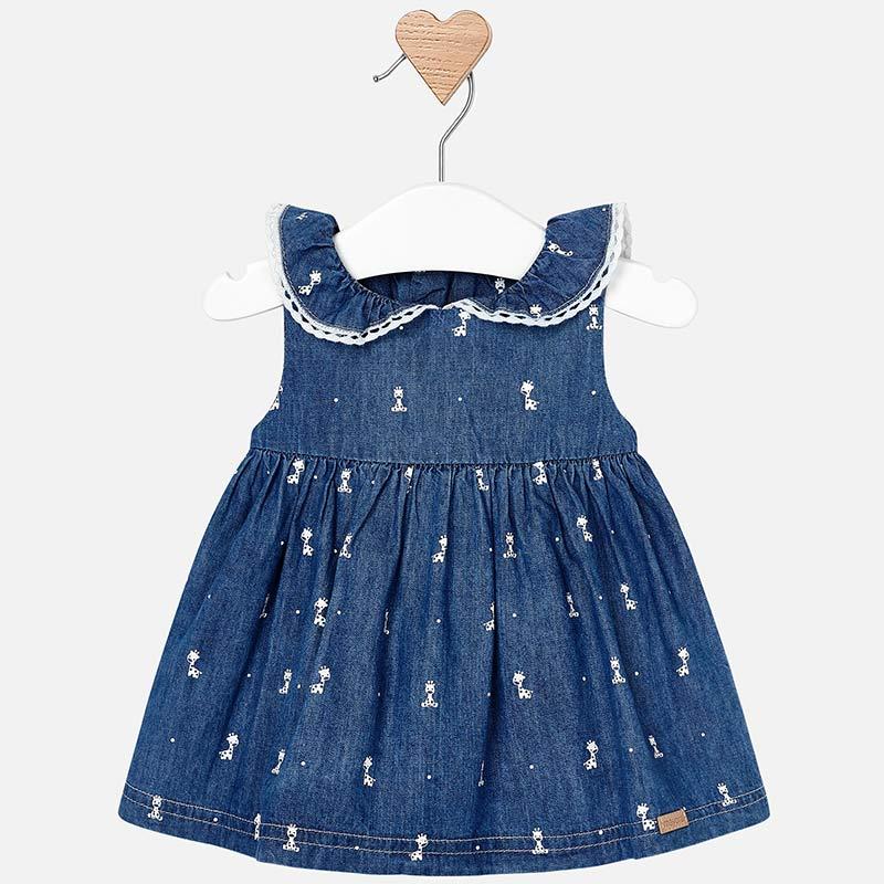 Vestito smanicato con colletto neonata Indaco