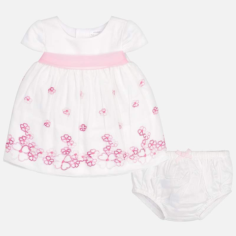 1bffc101419 Embroidered tulle dress with flowers for newborn girl Camellia - Mayoral