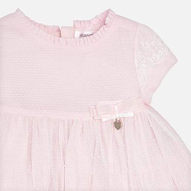 Vestito tulle ricamo e brillantinato neonata Rosa - Mayoral 4913c932296