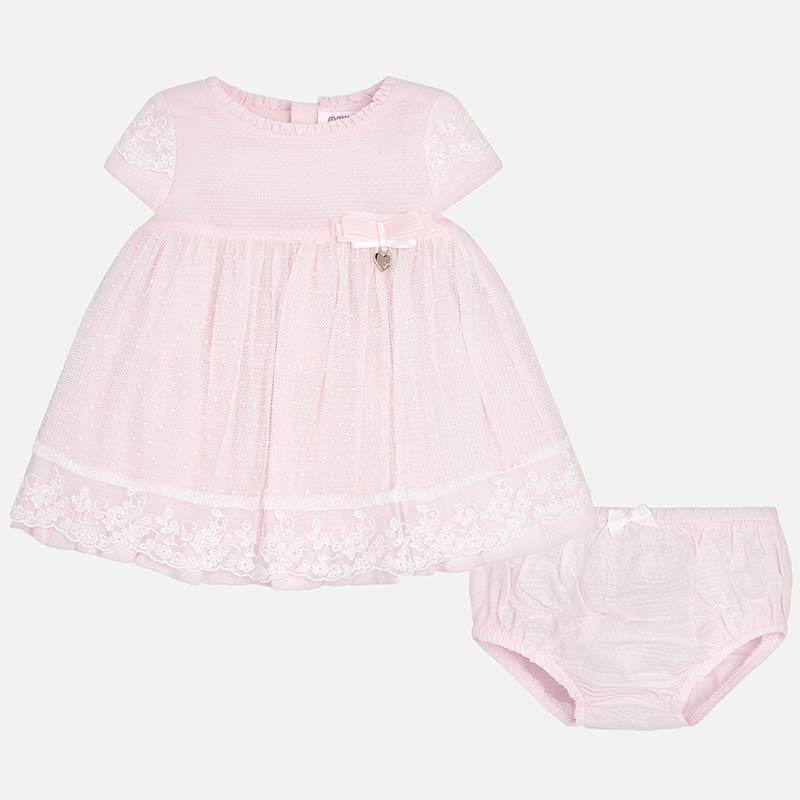 315be348b6f Embroidered tulle and glitter dress for newborn girl Pink - Mayoral