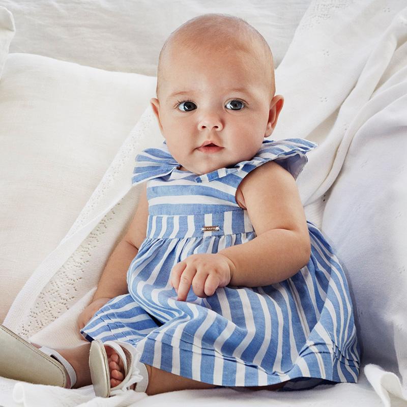 Vestito a righe con culotte neonata Azzurro