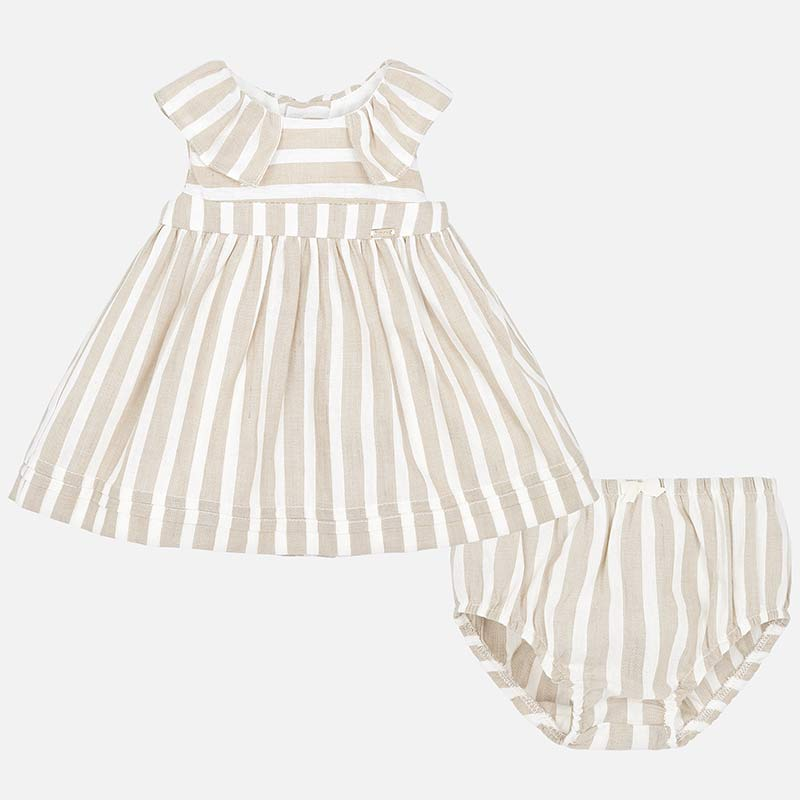 0bde74bcd Striped dress with knickers for newborn girl Off white - Mayoral