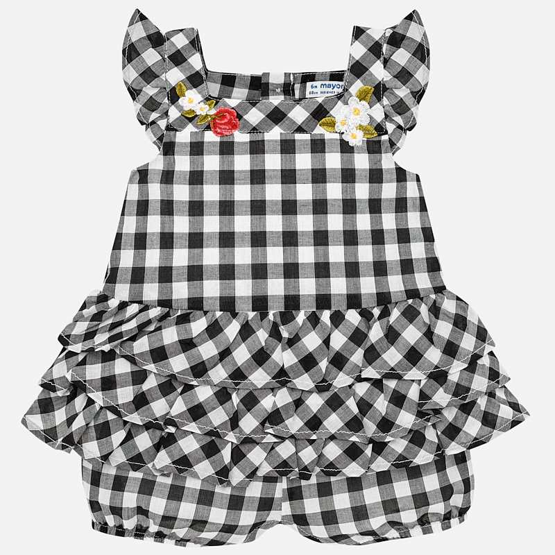 debb49384b4 Gingham romper for baby girl Black - Mayoral