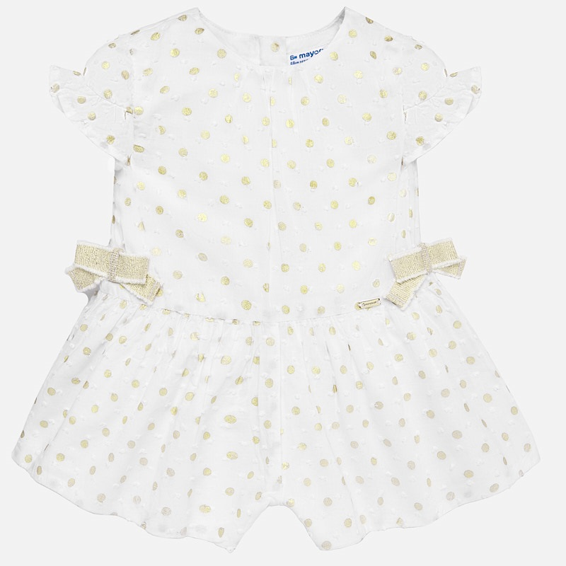 a7fa328aad Polka dot playsuit for baby girl Champagne - Mayoral