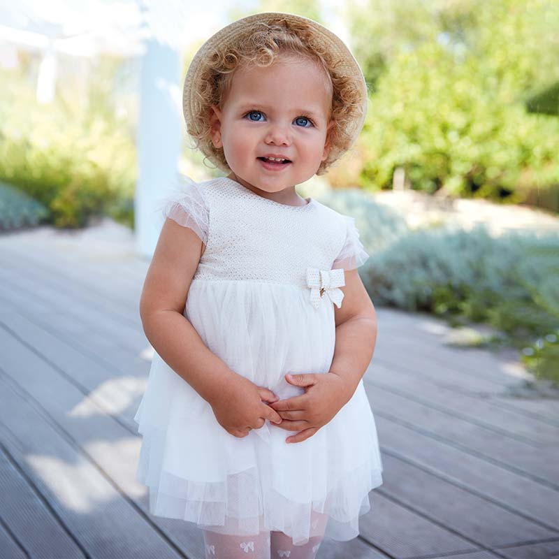 7bda4130060d Flared tulle dress for baby girl Off white - Mayoral