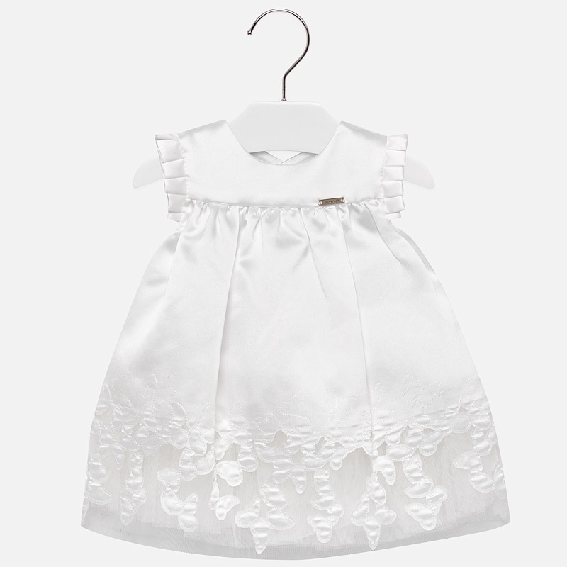 7e3f5b005 Embroidered butterflies dress for baby girl Off white - Mayoral