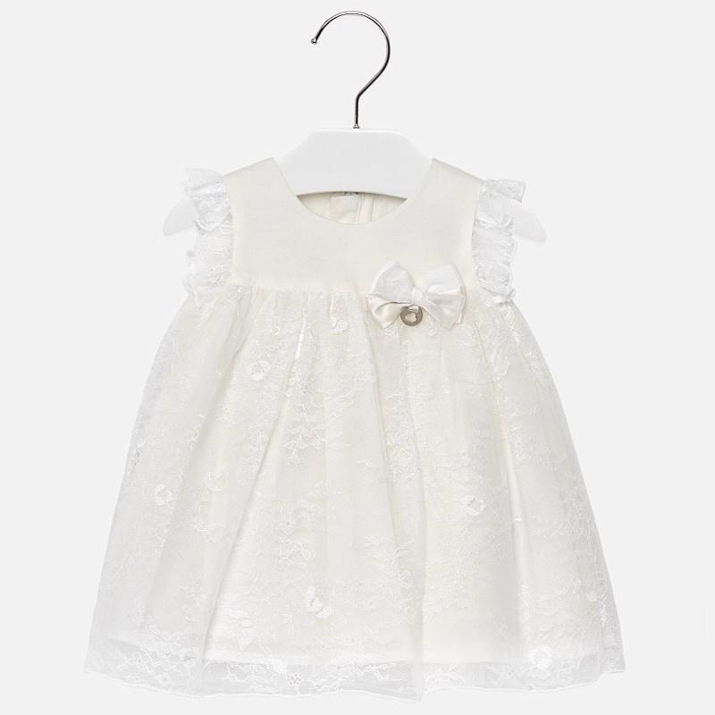 24b3cf9501349 Robe dentelle bébé fille Ecru - Mayoral