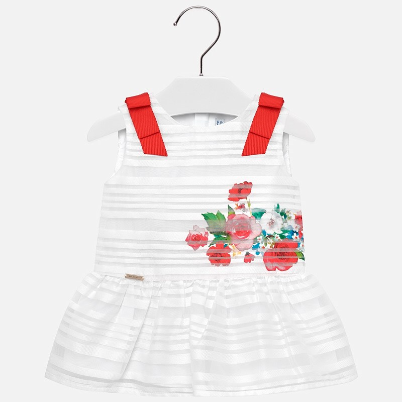 ed013f1c4c Sukienka na ramiączkach z kokardami dla dziewczynki Baby Biały - Mayoral